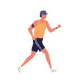 young guy jogging with armband man running vector image vector image