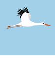 flying stork on a blue background vector image