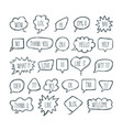 big set of comic bubbles with short messages hand vector image