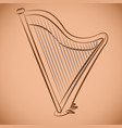 classical harp antique string instrument vector image