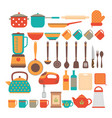 big set of kitchen utensils home appliances for vector image