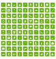 100 flowers icons set grunge green