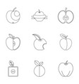 apple icon set outline style vector image