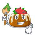 artist character traditional christmas pudding on vector image