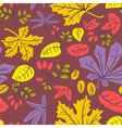autumn seamless pattern with many kinds of leaves vector image