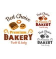 Bakery emblems with buns and bagel vector image vector image