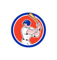 Baseball Player Batting Circle Side Cartoon vector image vector image
