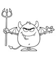 black and white angry devil cartoon character vector image