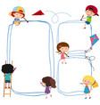 border template with kids drawing line vector image vector image