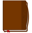 Brown closed the book with a red bookmark vector image vector image
