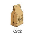 brown paper bag packet of flour food collection vector image