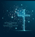 christian cross form low poly wire frame on blue vector image vector image
