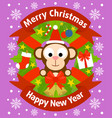 christmas and new year background with monkey vector image vector image
