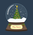christmas snow globe withdecorated christmas tree vector image vector image