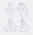 collection of realistic drawings of young men vector image vector image