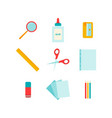 color flat set of office tools vector image