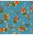 Colorful pattern with fish retro vector image