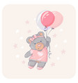 cute bear flying with a balloon vector image vector image