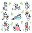 Cute Raccoon Character In Different Situations Set vector image vector image