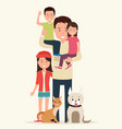 father with children and animals vector image vector image