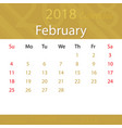 february 2018 calendar popular premium for vector image vector image