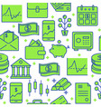finance and money seamless pattern in colored line vector image