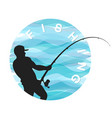 fisherman with a fishing rod symbol for fishing vector image vector image