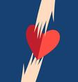 Graphic hands with heart on a blue background vector image