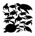 green sea turtle animal silhouettes vector image vector image