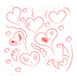handdrawing hearts on white background vector image