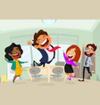 happy business people in office cartoon vector image