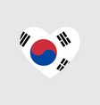 heart in colors of the south korea flag vector image vector image
