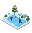 isometric isolated happy family skating vector image
