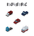 isometric transport set of suv car first-aid and vector image vector image