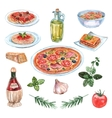 Italian Food Watercolor Set vector image vector image