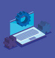 laptop with gears and puzzle vector image vector image