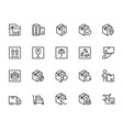 logistics shipping and delivery icon set in thin vector image