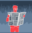 man reading newspaper vector image vector image