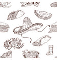 Mexican Food Hand Drawn Seamless Pattern vector image vector image