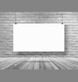 mockup poster banner hanging on white brick wall vector image vector image