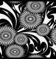 modern flowers seamless pattern black and vector image