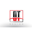 ot o t logo letters with red and black colors and vector image vector image