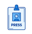 press badge line icon vector image