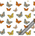 seamless pattern with cute fluttering butterflies vector image