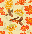 Seamless texture oak leaves and acorns vector image