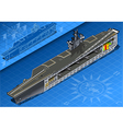 section isometric aircraft carrier in front vector image