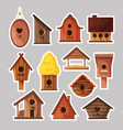 set birdboxes stickers different wooden vector image vector image