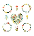 set floral wreath with cute colorful flowers vector image