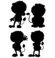 set lion silhouette vector image vector image