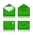 Set of Green envelopes vector image vector image